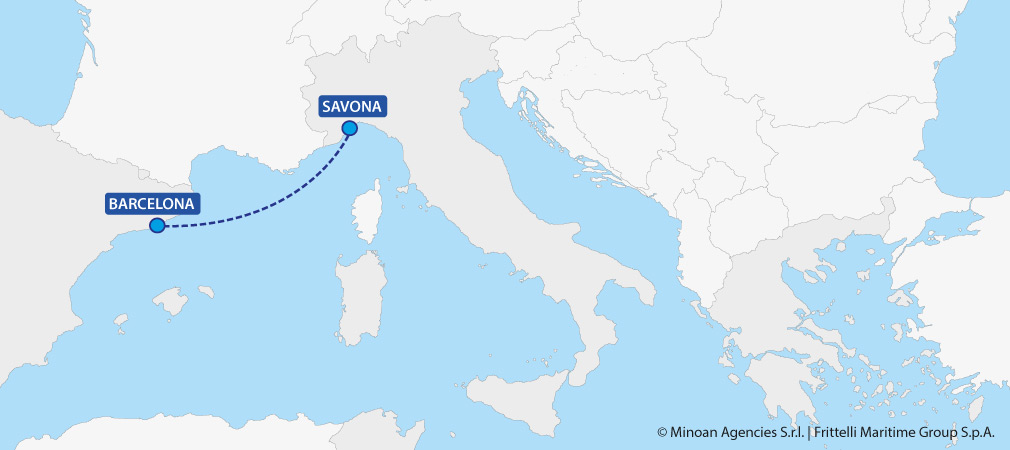 map ferries italy spain savona barcellona grimaldi lines