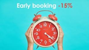 Early booking esteso fino al 31 maggio con riduzione 15%